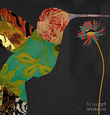 Tapestries Textiles Painting - Hummingbird Brocade Iv by Mindy Sommers