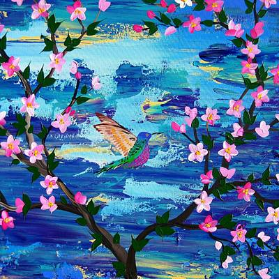 Cherry Blossoms Painting - Hummingbird by Cathy Jacobs