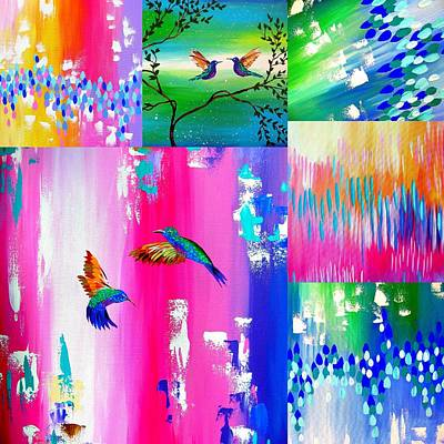 Hummingbird Collage Art Print by Cathy Jacobs