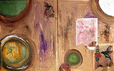 Mixed Media - Hummingbird Collage by Windy Savarese