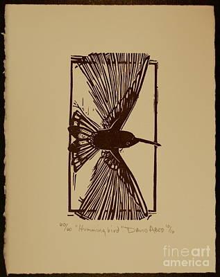 Linoleum Drawing - Hummingbird by David Abed
