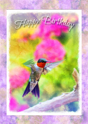 Photograph - Hummingbird Day - Birthday Greeting Card by Debbie Portwood