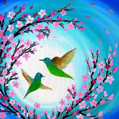 Cherry Blossoms Painting - Hummingbird Design by Cathy Jacobs