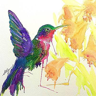 Painting - Hummingbird Drinking Nectar  by Ellen Levinson