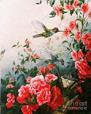 Fauna Painting - Hummingbird Family by Jean Harrison