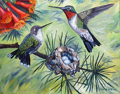Painting - Hummingbird Family by Julie Brugh Riffey