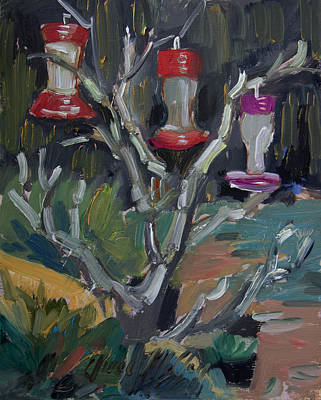 Hummingbird Feeders In Idyllwild Art Print by Diane McClary