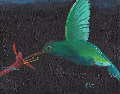 Colibri Art Painting - Hummingbird Feeding by M Valeriano