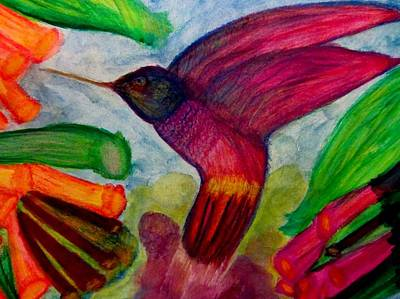 Abstract Expressionism Painting - Hummingbird Fun by Stephanie Zelaya
