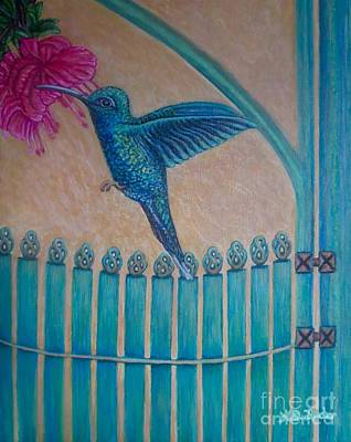 Painting - Hummingbird Garden Gate Revised by Kimberlee Baxter