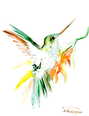 Lovers Art Drawing - Hummingbird Green Orange Red by Suren Nersisyan