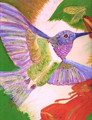 Hummingbird Happiness Print by Anne-Elizabeth Whiteway