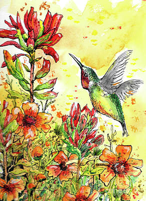 Painting - Hummingbird Heaven by Terry Banderas