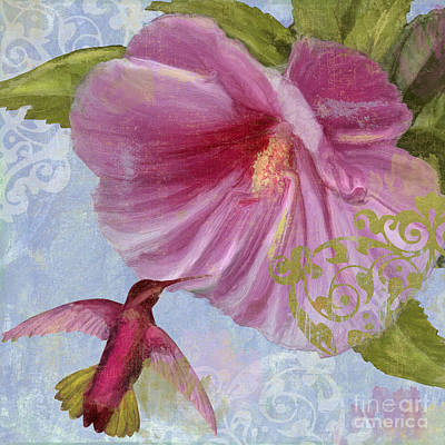 Hibiscus Wall Art - Painting - Hummingbird Hibiscus I by Mindy Sommers
