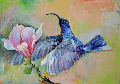 Colibri Painting - Hummingbird Hug - Blue Hummingbird And Magnolia Flowers Painting by Soos Roxana Gabriela