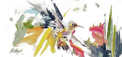 Wall Art - Painting - Hummingbird In Flight Oil Painting by Kim Guthrie