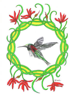 Painting - Hummingbird In Knots by Lise Winne
