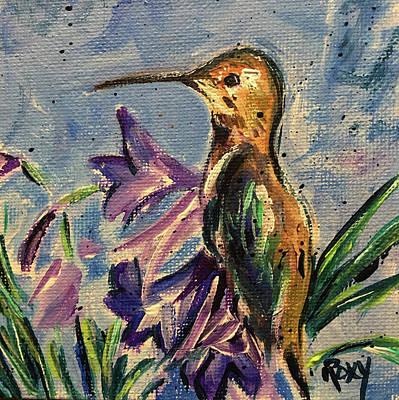 Flower Painting - Hummingbird In Purple Flowers by Roxy Rich