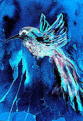 Painting - Hummingbird Midnight Blues by Ellen Levinson