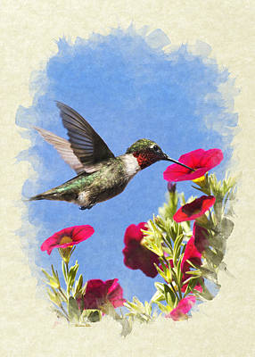 Mixed Media - Hummingbird Moment In Time Blank Note Card by Christina Rollo