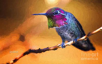 Hummingbird On Branch Art Print