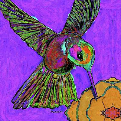 Hummingbird On Purple Art Print