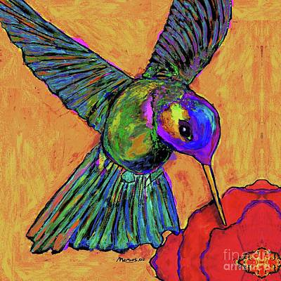 Hummingbird On Yellow Art Print