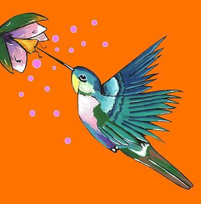 Mixed Media - Hummingbird Orange by Kathleen Sartoris