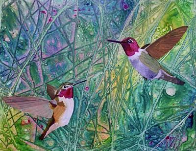 Painting - Hummingbird Pair by Nancy Jolley