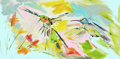 Wall Art - Painting - Hummingbird Pair Oil Painting by Kim Guthrie