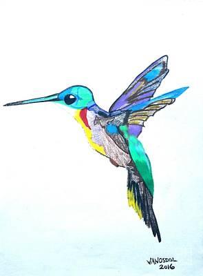 Hummingbird Presented In Colored Pencil Art Print