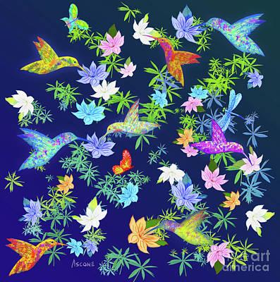 Mixed Media - Hummingbird Spring II by Teresa Ascone