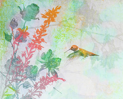Art Print featuring the digital art Hummingbird Summer by Christina Lihani