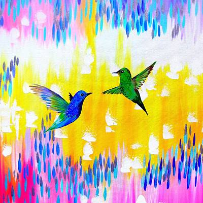 Wren Painting - Hummingbird Sunrise by Cathy Jacobs