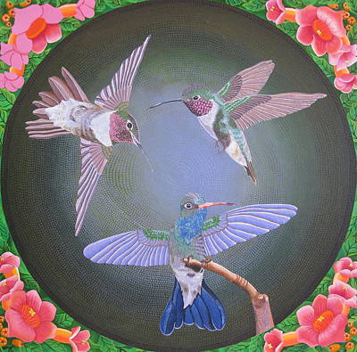 Painting - Hummingbird Trio by Amanda  Lynne