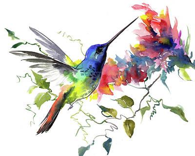 Painting - Hummingbird, Tropical Colors, Tropical, Hawaiian Design by Suren Nersisyan