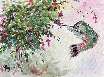 Flower Painting - Hummingbird With Fuchsias by Roxy Rich