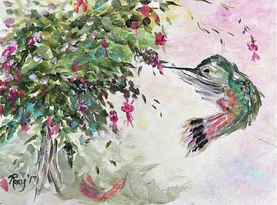 Artwork Painting - Hummingbird With Fuscsias by Roxy Rich