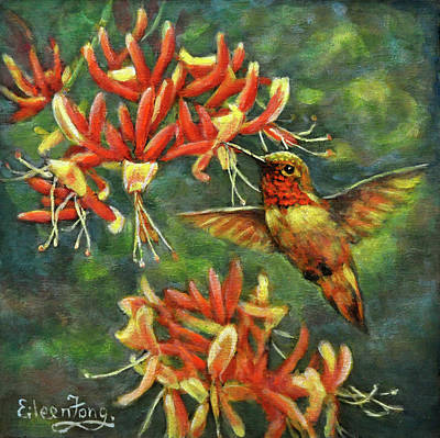 Painting - Hummingbird With Honey Suckles by Eileen  Fong