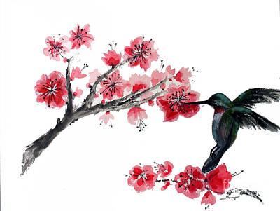 Hummingbird With Plum Blossom Art Print by Sibby S