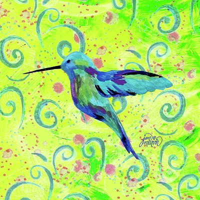 Painting - Hummingbird With Swirls by Jan Marvin
