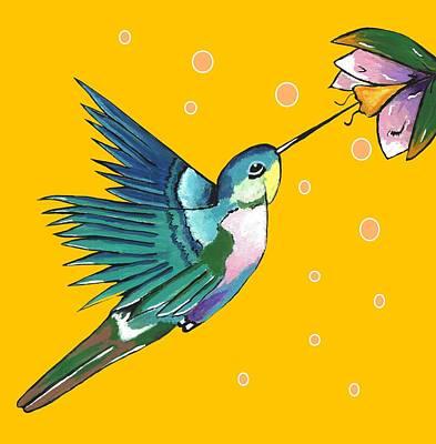 Digital Art - Hummingbird Yellow by Kathleen Sartoris