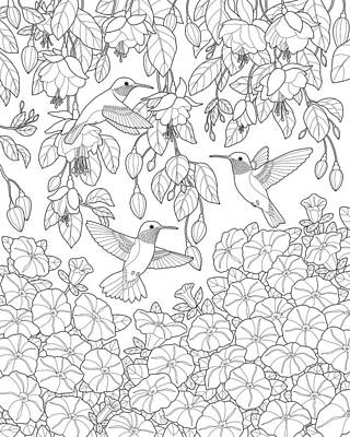 Petunia Painting - Hummingbirds And Flowers Coloring Page by Crista Forest