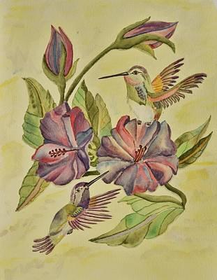 Hummingbirds And Hibiscus Original