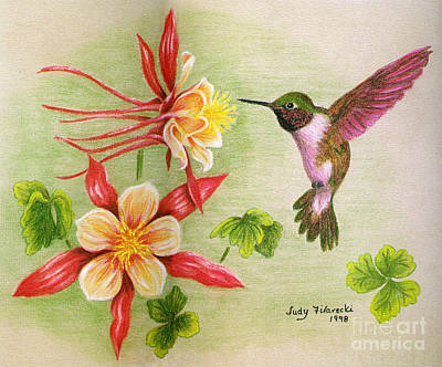 Art Print featuring the painting Hummingbird's Delight by Judy Filarecki