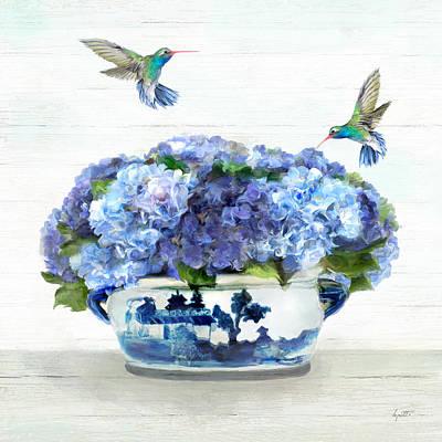 Painting - Hummingbirds In The Hydrangea by Kimberly Potts