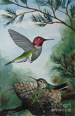 Painting - Hummingbirds In Wait by Suzanne Schaefer