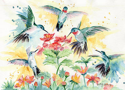 Hummingbirds Party Art Print