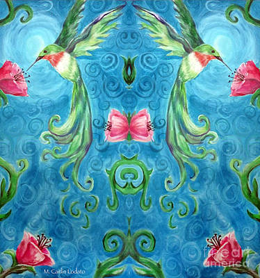 Hummingbirds Reflected  Art Print by Caitlin Lodato
