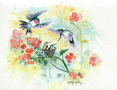 Painting - Hummingbirds Secret Garden by Melly Terpening